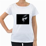 Vampire Fantasy in Black and White Maternity White T-Shirt