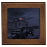 Demon Horseman at Night Framed Tile