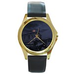 Demon Horseman at Night Round Gold Metal Watch