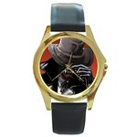 American Gothic Vampire Round Gold Metal Watch