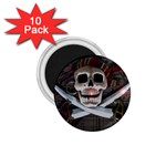 Pirate Flag Skull and Treasure Map 1.75  Magnet (10 pack)
