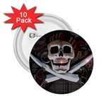 Pirate Flag Skull and Treasure Map 2.25  Button (10 pack)