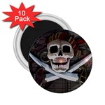 Pirate Flag Skull and Treasure Map 2.25  Magnet (10 pack)