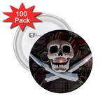 Pirate Flag Skull and Treasure Map 2.25  Button (100 pack)