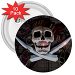 Pirate Flag Skull and Treasure Map 3  Button (10 pack)