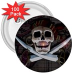 Pirate Flag Skull and Treasure Map 3  Button (100 pack)