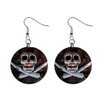 Pirate Flag Skull and Treasure Map 1  Button Earrings
