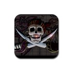 Pirate Flag Skull and Treasure Map Rubber Coaster (Square)