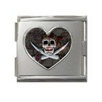 Pirate Flag Skull and Treasure Map Mega Link Heart Italian Charm (18mm)