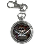 Pirate Flag Skull and Treasure Map Key Chain Watch