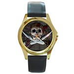 Pirate Flag Skull and Treasure Map Round Gold Metal Watch