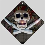 Pirate Flag Skull and Treasure Map Car Window Sign