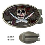 Pirate Flag Skull and Treasure Map Money Clip (Oval)