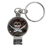 Pirate Flag Skull and Treasure Map Nail Clippers Key Chain