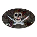 Pirate Flag Skull and Treasure Map Magnet (Oval)