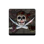 Pirate Flag Skull and Treasure Map Magnet (Square)