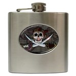 Pirate Flag Skull and Treasure Map Hip Flask (6 oz)