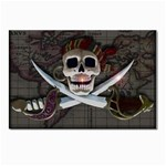 Pirate Flag Skull and Treasure Map Postcard 4  x 6