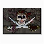 Pirate Flag Skull and Treasure Map Postcard 5  x 7