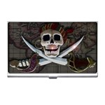 Pirate Flag Skull and Treasure Map Business Card Holder