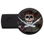 Pirate Flag Skull and Treasure Map USB Flash Drive Round (1 GB)