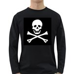 Classic Pirate Flag Skull and Bones Long Sleeve Dark T-Shirt