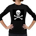 Classic Pirate Flag Skull and Bones Women s Long Sleeve Dark T-Shirt