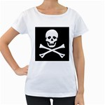 Classic Pirate Flag Skull and Bones Maternity White T-Shirt