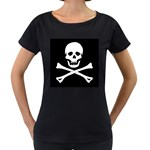 Classic Pirate Flag Skull and Bones Maternity Black T-Shirt