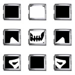 Classic Pirate Flag Skull and Bones Mega Link Italian Charm (9 pack)