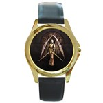Goth Angel Round Gold Metal Watch
