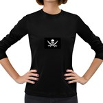 Pirate Flag Skull and Bones Women s Long Sleeve Dark T-Shirt