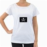 Pirate Flag Skull and Bones Maternity White T-Shirt