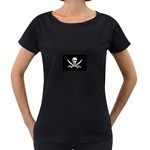 Pirate Flag Skull and Bones Maternity Black T-Shirt