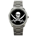 Pirate Flag Skull and Bones Sport Metal Watch