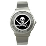 Pirate Flag Skull and Bones Stainless Steel Watch