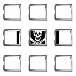 Pirate Flag Skull and Bones Mega Link Italian Charm (9 pack)