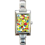Interlocking Circles Rectangular Italian Charm Watch