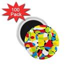 Interlocking Circles 1.75  Button Magnet (100 pack)