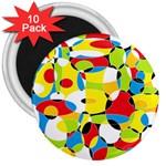 Interlocking Circles 3  Button Magnet (10 pack)