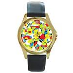 Interlocking Circles Round Leather Watch (Gold Rim)