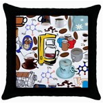 Just Bring Me Coffee Black Throw Pillow Case