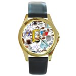 Just Bring Me Coffee Round Leather Watch (Gold Rim)