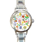 Summer Florals Round Italian Charm Watch