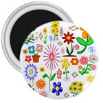 Summer Florals 3  Button Magnet