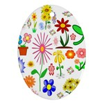 Summer Florals Oval Ornament