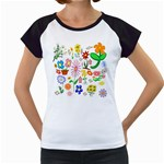 Summer Florals Women s Cap Sleeve T-Shirt (White)