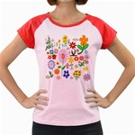 Summer Florals Women s Cap Sleeve T-Shirt (Colored)