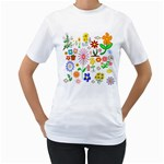 Summer Florals Women s Two-sided T-shirt (White)