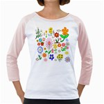 Summer Florals Women s Long Cap Sleeve T-Shirt (White)